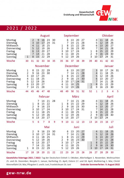 GEW-Schulferienaufkleber 2021/2022 (50 Stück)